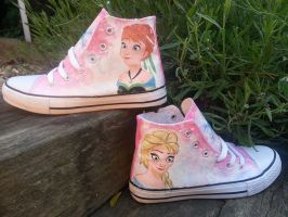 Frozen Anna and Elsa painted canvas trainers by LightningChaser