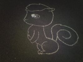 squirrel drawn in chalk by richtofenluvr