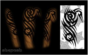 Half sleeve tribal  color by shepush