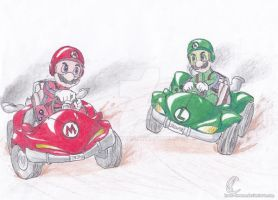 Mario and Luigi racing by Know-Kname