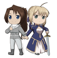 Chibi Commission 7- Crystal n Saber by NoVaNoah