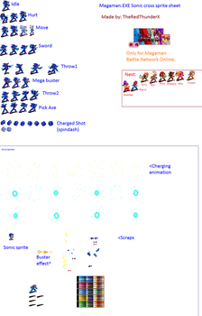 MM.EXE Sonic Cross sprite sheet by TheRedThunderX