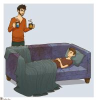Sterek - couch by Youko-Shirokiba