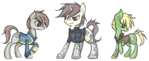 Littlepip, Blackjack, and Murky by whispir