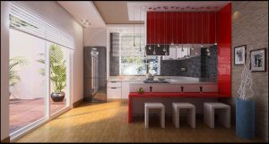 simple, red kitchen by nettonik