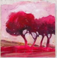 Magenta trees by andreuccettiart