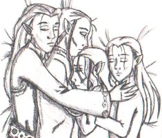 Family of Sleeping Elves by marienoire