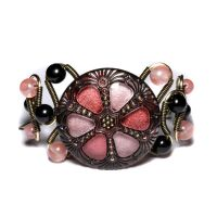 steampunk bracelet pink black by CatherinetteRings