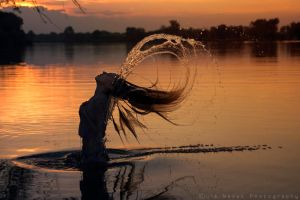 water in her hair by Juelej
