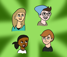 CARICATURES - Meg, Stacy, Destinee, and Tim by Emjaidi