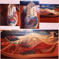 Custom painted koi shoes by LlaeLaps