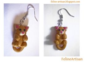 Orange tabby earrings by FelineArtisan
