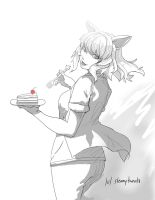 Black Hanekawa doodle for a cakeday by SteamyTomato