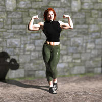 Redheaded muscle girl by Lingster