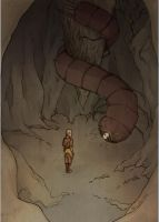Avatar- Aang inside the Face Stealer's cave by eris212