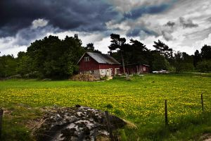 a small red cottage by MartinaGunilla