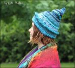 Blue and turquoise pixie hat - freeform by MademoiselleOrtie