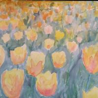 Peach and yellow tulips by BendeyWendy