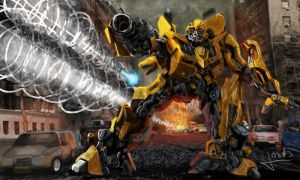 Bumblebee in battle by vofff