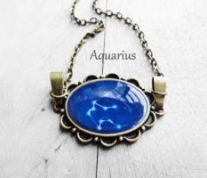 Handmade Resin Aquarius Bronze Oval Necklace by crystaland