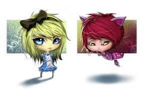 Chibis: Alice n Cheshire Cat by Caleb-Brown