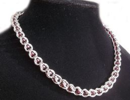 Real Garnet Captured Bead Chainmail Necklace by Pharewings