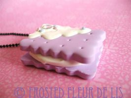 Lavender Rectangle Sandwich Necklace by FrostedFleurdeLis