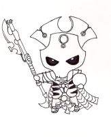 40K Necron Overlord.......Chibi-ed lineart by N-Chiodo