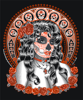 Day of the Dead face woman t smaller by godzillasmash