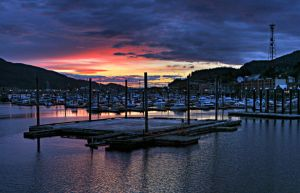 Sunset Over Bar Harbor by Muskeg