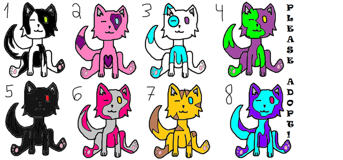 Cat Adoptables!!! 2 points each!! by ashes-the-wolf