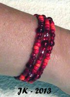 Red Triple Memory Wire Bracelet by VampirateMace