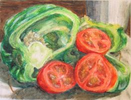 Bell Pepper and Tomatoes by shiftandcapslock