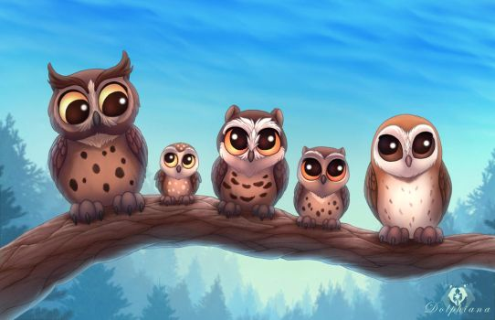 Owl Friends by DolphyDolphiana