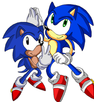 Sonic and classic Sonic by Discourt
