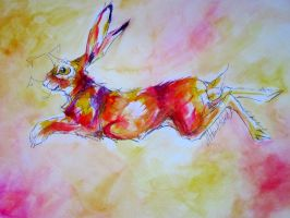 Leaping hare by JordanHempstead