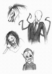 Creepypasta sketches by BlackDragon-kin