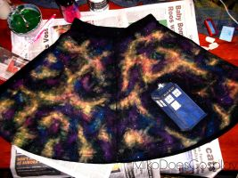 Hand Made TARDIS Galaxy Skater Skirt! by MikoDoesCosplay