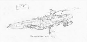 Armed aerial steamship - rough2 by Waffle0708