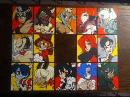Skullgirls Playable Characters paintings by TheScarecrowOfNorway