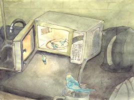 Bluebirds + Microwave by Quilsnap