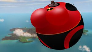 Mrs Incredible Balloon with background by berry-duke96