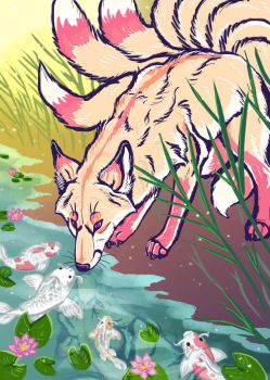 Kitsune with Koi by ZackLoup
