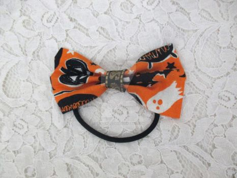 Happy Halloween Hair Bow with Hair Tie by TanzenLilly