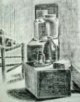 Still life in charcoal by Melibells