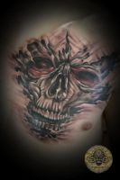 skull face tat by 2Face-Tattoo