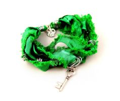 Green Ribbon Key Bracelet by StorytellerZero