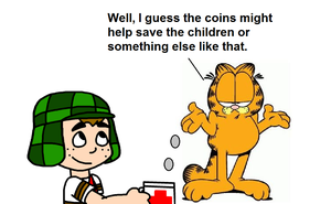 Garfield Gives Coins to El Chavo by mjeddy