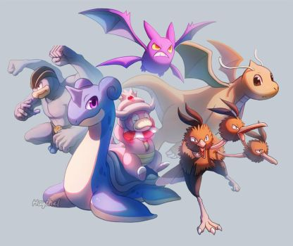 FireRed Randomizer Nuzlocke Final Team by Haychel