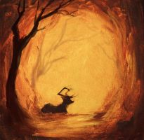Forest fire by Delnum